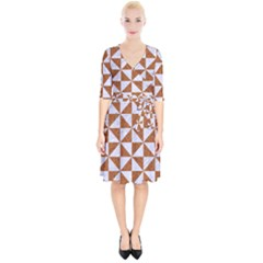 Triangle1 White Marble & Rusted Metal Wrap Up Cocktail Dress