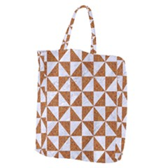 TRIANGLE1 WHITE MARBLE & RUSTED METAL Giant Grocery Zipper Tote