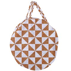 TRIANGLE1 WHITE MARBLE & RUSTED METAL Giant Round Zipper Tote
