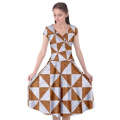 TRIANGLE1 WHITE MARBLE & RUSTED METAL Cap Sleeve Wrap Front Dress
