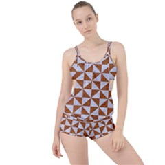 Triangle1 White Marble & Rusted Metal Boyleg Tankini Set