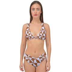 Triangle1 White Marble & Rusted Metal Double Strap Halter Bikini Set