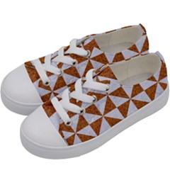 TRIANGLE1 WHITE MARBLE & RUSTED METAL Kids  Low Top Canvas Sneakers
