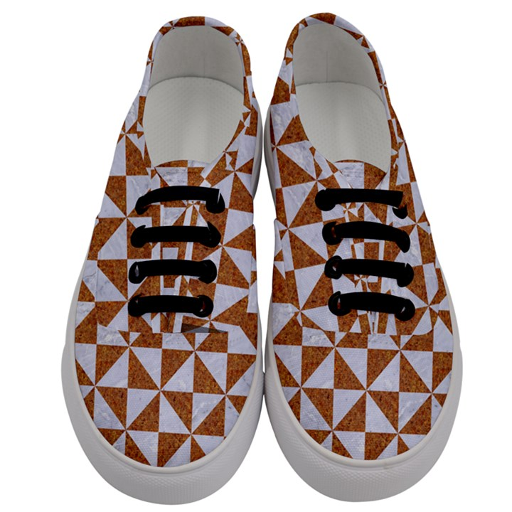 TRIANGLE1 WHITE MARBLE & RUSTED METAL Men s Classic Low Top Sneakers