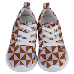 Triangle1 White Marble & Rusted Metal Kids  Lightweight Sports Shoes