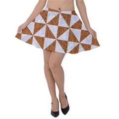 TRIANGLE1 WHITE MARBLE & RUSTED METAL Velvet Skater Skirt