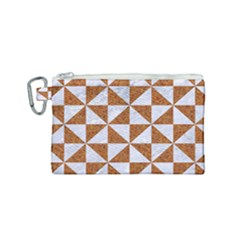 Triangle1 White Marble & Rusted Metal Canvas Cosmetic Bag (small)