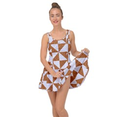 Triangle1 White Marble & Rusted Metal Inside Out Dress