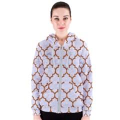 TILE1 WHITE MARBLE & RUSTED METAL (R) Women s Zipper Hoodie