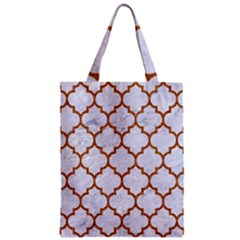 Tile1 White Marble & Rusted Metal (r) Zipper Classic Tote Bag by trendistuff
