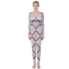 TILE1 WHITE MARBLE & RUSTED METAL (R) Long Sleeve Catsuit