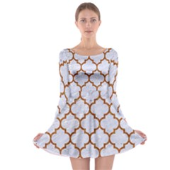 TILE1 WHITE MARBLE & RUSTED METAL (R) Long Sleeve Skater Dress