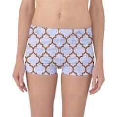 TILE1 WHITE MARBLE & RUSTED METAL (R) Boyleg Bikini Bottoms