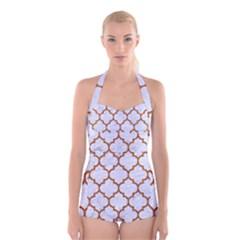 TILE1 WHITE MARBLE & RUSTED METAL (R) Boyleg Halter Swimsuit