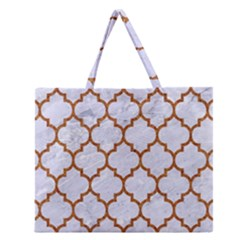 Tile1 White Marble & Rusted Metal (r) Zipper Large Tote Bag by trendistuff