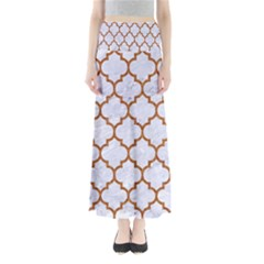 TILE1 WHITE MARBLE & RUSTED METAL (R) Full Length Maxi Skirt