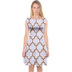 TILE1 WHITE MARBLE & RUSTED METAL (R) Capsleeve Midi Dress