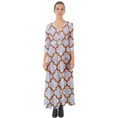 TILE1 WHITE MARBLE & RUSTED METAL (R) Button Up Boho Maxi Dress