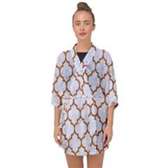 TILE1 WHITE MARBLE & RUSTED METAL (R) Half Sleeve Chiffon Kimono