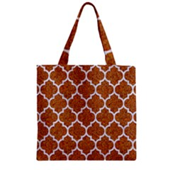 Tile1 White Marble & Rusted Metal Zipper Grocery Tote Bag by trendistuff