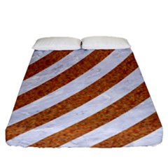 Stripes3 White Marble & Rusted Metal (r) Fitted Sheet (queen Size) by trendistuff