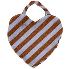 Stripes3 White Marble & Rusted Metal (r) Giant Heart Shaped Tote by trendistuff