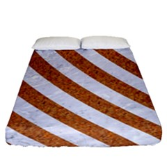 Stripes3 White Marble & Rusted Metal Fitted Sheet (queen Size) by trendistuff