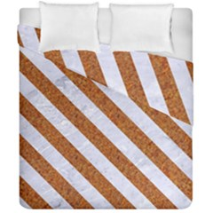 Stripes3 White Marble & Rusted Metal Duvet Cover Double Side (california King Size) by trendistuff