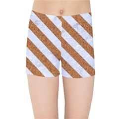 Stripes3 White Marble & Rusted Metal Kids Sports Shorts