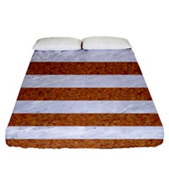 Stripes2white Marble & Rusted Metal Fitted Sheet (queen Size) by trendistuff