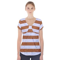 Stripes2white Marble & Rusted Metal Short Sleeve Front Detail Top by trendistuff