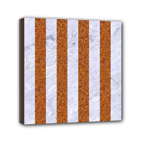 Stripes1 White Marble & Rusted Metal Canvas Travel Bag by trendistuff