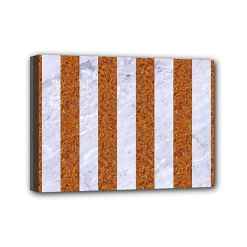 Stripes1 White Marble & Rusted Metal Mini Canvas 7  X 5  by trendistuff