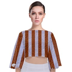 Stripes1 White Marble & Rusted Metal Tie Back Butterfly Sleeve Chiffon Top