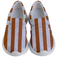 Stripes1 White Marble & Rusted Metal Kid s Lightweight Slip Ons