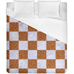 Square1 White Marble & Rusted Metal Duvet Cover (california King Size) by trendistuff