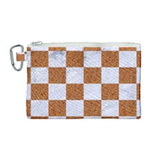Square1 White Marble & Rusted Metal Canvas Cosmetic Bag (medium) by trendistuff