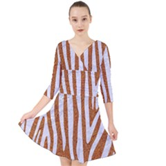 Skin4 White Marble & Rusted Metal (r) Quarter Sleeve Front Wrap Dress