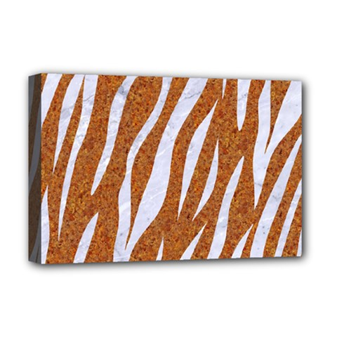 Skin3 White Marble & Rusted Metal Deluxe Canvas 18  X 12   by trendistuff