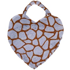 Skin1 White Marble & Rusted Metal Giant Heart Shaped Tote by trendistuff
