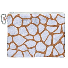 Skin1 White Marble & Rusted Metal Canvas Cosmetic Bag (xxl) by trendistuff