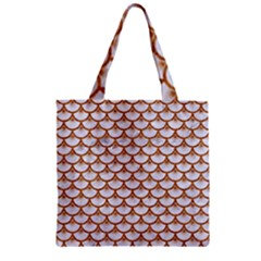 Scales3 White Marble & Rusted Metal (r) Zipper Grocery Tote Bag by trendistuff