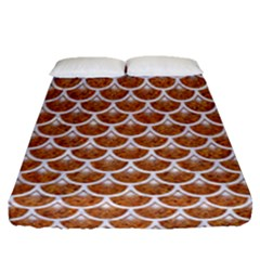Scales3 White Marble & Rusted Metal Fitted Sheet (queen Size) by trendistuff