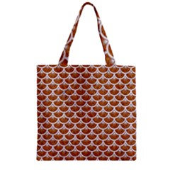 Scales3 White Marble & Rusted Metal Zipper Grocery Tote Bag by trendistuff