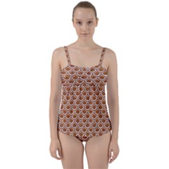 Scales2 White Marble & Rusted Metal Twist Front Tankini Set