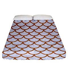 Scales1 White Marble & Rusted Metal (r) Fitted Sheet (queen Size) by trendistuff