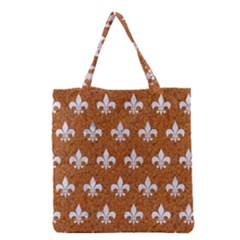 Royal1 White Marble & Rusted Metal (r) Grocery Tote Bag by trendistuff