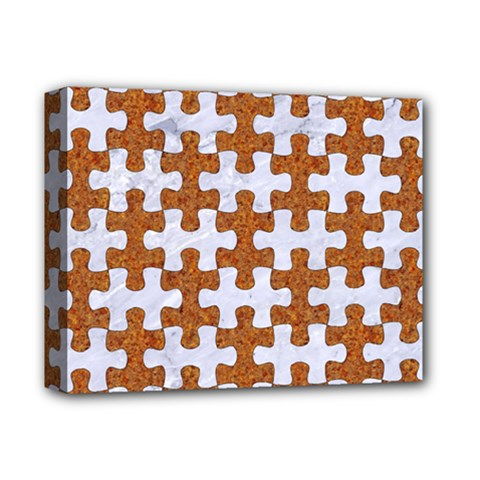 Puzzle1 White Marble & Rusted Metal Deluxe Canvas 14  X 11  by trendistuff