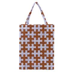 Puzzle1 White Marble & Rusted Metal Classic Tote Bag by trendistuff