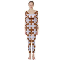 Puzzle1 White Marble & Rusted Metal Long Sleeve Catsuit by trendistuff